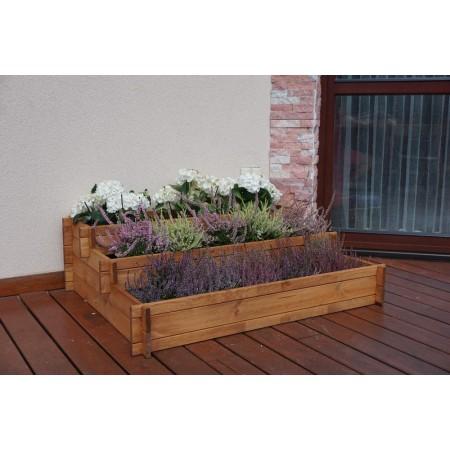 Extra velký dřevěný květináč na terasu / zahradu, kaskáda, 110x88 cm