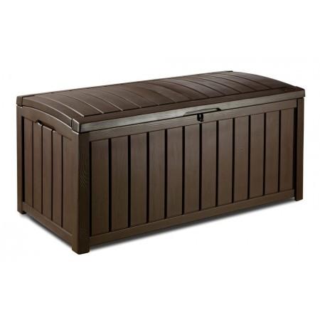 Velký plastový zahradní box, imitace dřeva, otevírací víko, hnědý, 128x65x61 cm