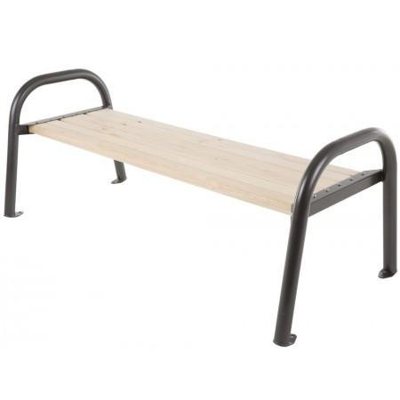 Pevná venkovní lavice k přišroubování, kov / dřevo, bez opěrky, 162 cm