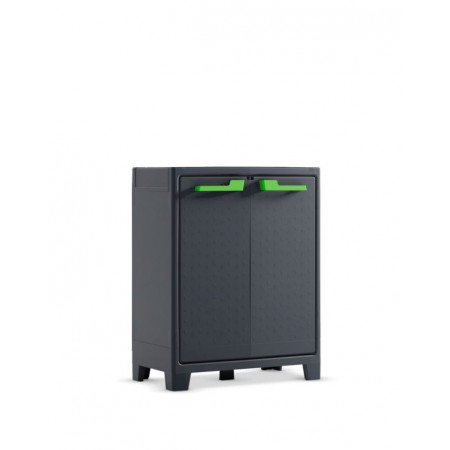 Menší plastová úložná skříňka do dílny / garáže, šedá, 80x44x100 cm