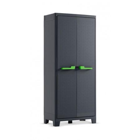 Velká plastová úložná skříňka do dílny / garáže, tmavě šedá, 80x44x182 cm