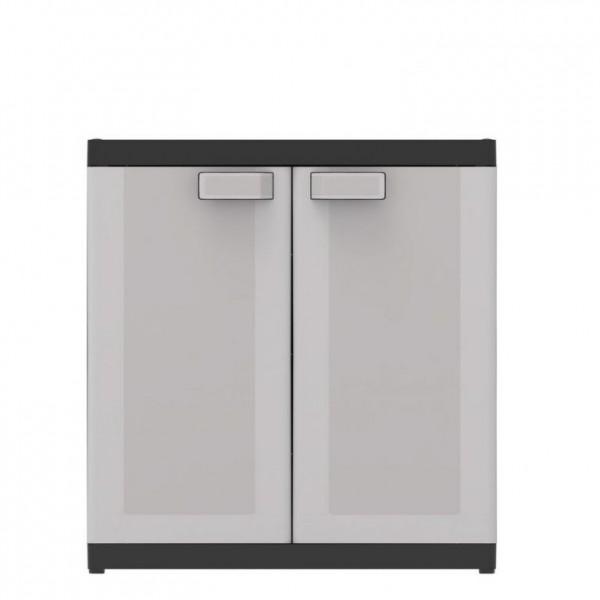 Menší plastová úložná skříňka do dílny / garáže, šedá, 89x54x93 cm