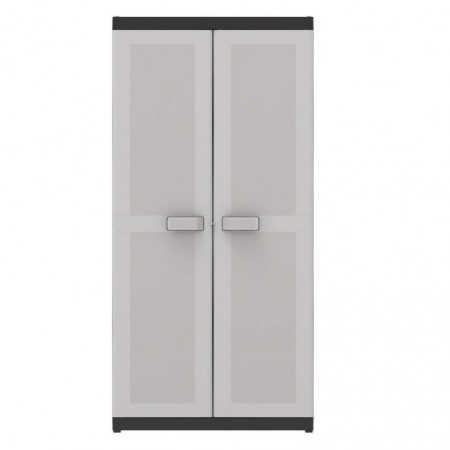 Vysoká plastová úložná skříňka do dílny / garáže, šedá, 89x54x182 cm