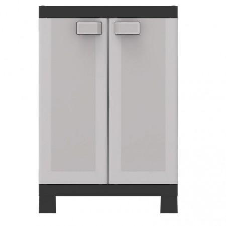 Středně velká plastová úložná skříňka do dílny / garáže, šedá, 65x45x97 cm