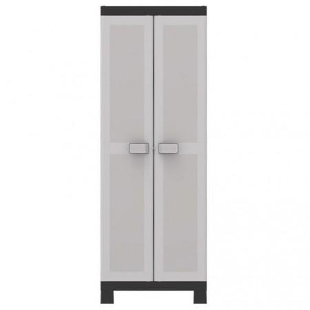 Vysoká plastová skříňka, uzamykatelná, pusuvné police, šedá, 65x45x182 cm