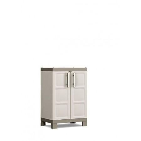 Plastová úložná skříňka s dveřmi, interiér / exteriér, 65x45x97 cm