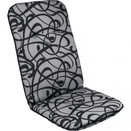 Podsedák na křeslo / židli, vysoká opěrka, šedá + potisk, 116x50 cm