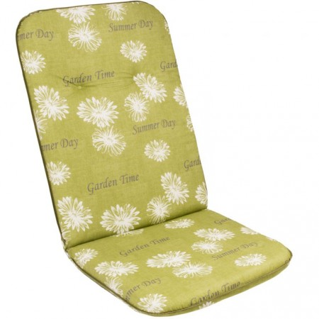 Podsedák na křeslo / židli, vysoká opěrka, zelená + potisk, 116x50 cm