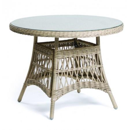 Designový kulatý stolek z umělého ratanu, světlý, sklo, průměr 100 cm