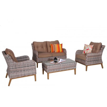 Venkovní set nábytku z umělého pleteného ratanu, šedá / hnědá