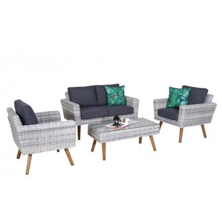 Souprava venkovního ratanového nábytku, hliníková kostra, šedá / krémová