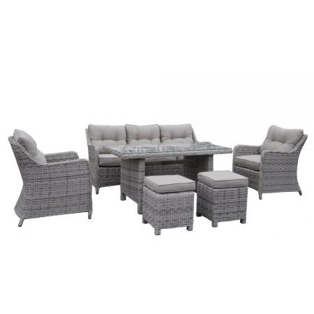 Větší deignový set rodinného ratanového nábytku, šedý