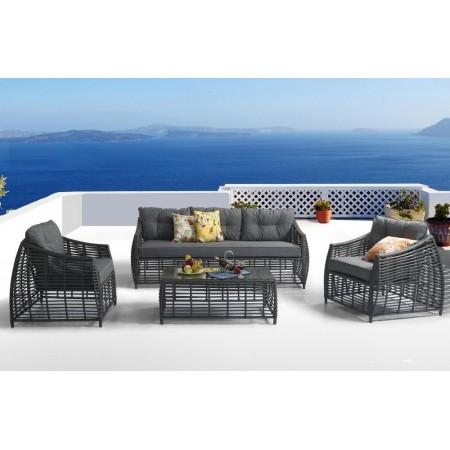 Designová rodinná souprava ratanového zahradního nábytku, antracit / šedá
