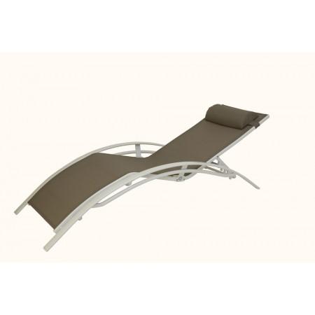 Designové relaxační lehátko na terasu, kovová kostra, anatomický tvar, cappuccino