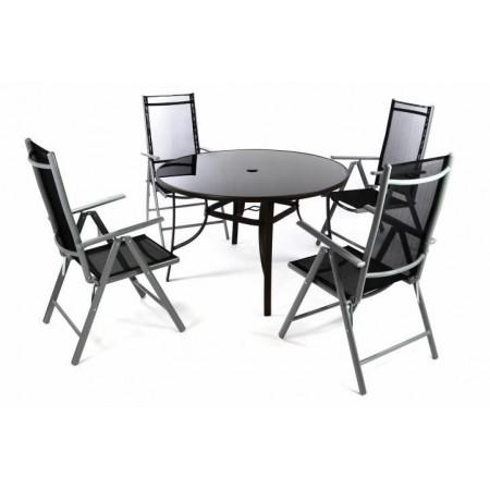 Set venkovního kovového nábytku s kulatým stolem, šedá / hnědá / černá