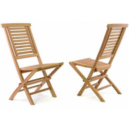 2x pevná teaková skládací židle na zahradu, masivní dřevo