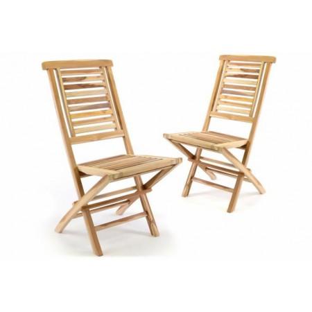 2x masivní zahradní židle z teakového dřeva, skládací, vysoké opěradlo