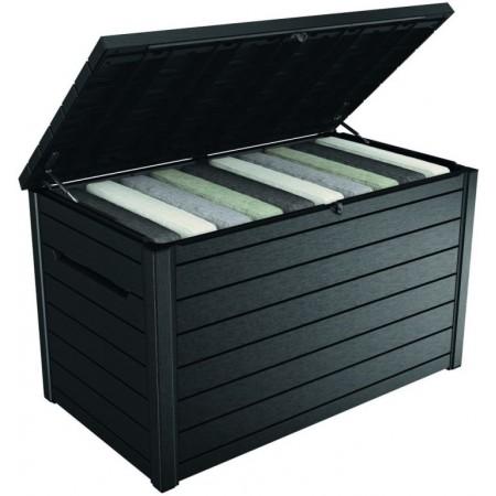 Velký skladovací plastový box venkovní, otevírací víko, antracit, 870 L