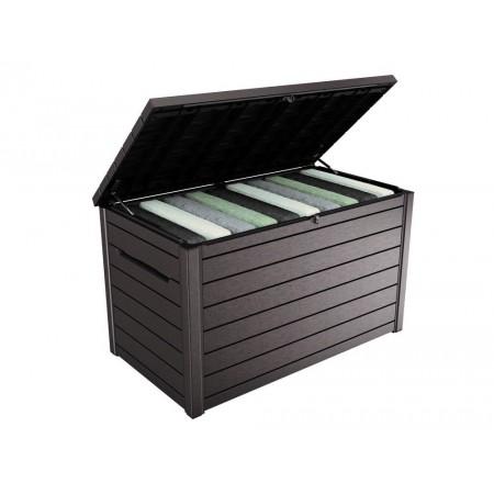 Velký skladovací plastový box venkovní, otevírací víko, hnědý, 870 L