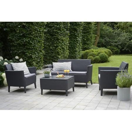 Plastová zahradní souprava nábytku- umělý ratan, grafit, vč. polstrů
