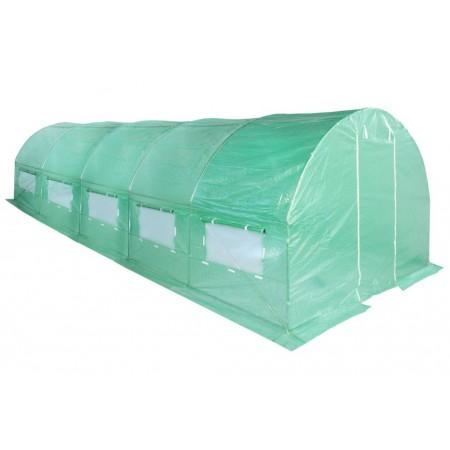 Velký fóliovník s obloukovou kovovou konstrukcí, zelený, 8x3 m
