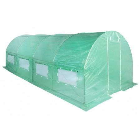 Velký fóliovník s obloukovou kovovou konstrukcí, zelený, 6x3 m