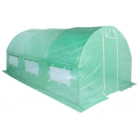 Větší fóliovník s obloukovou kovovou konstrukcí, zelený, 4,5x3 m