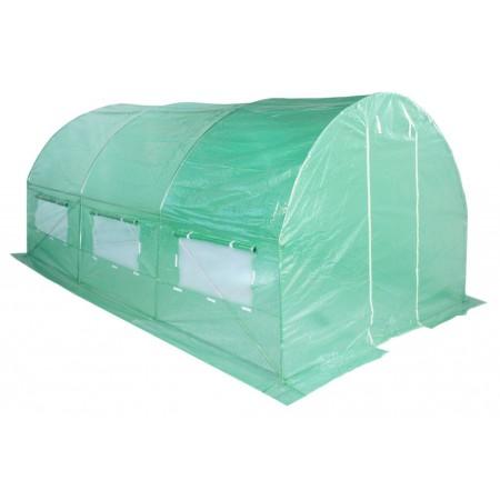Obloukový zahradní fóliovník, vyztužená fólie, zelený, 4x2,5 m