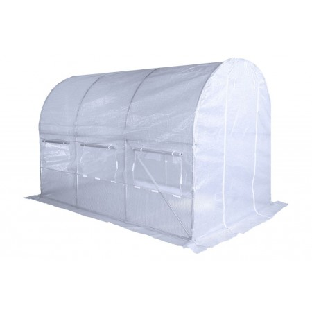 Obloukový zahradní fóliovník, vyztužená fólie, bílý, 3x2 m