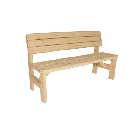 Zahradní lavice s opěradlem, z masivního dřeva, nelakovaná, 150 cm