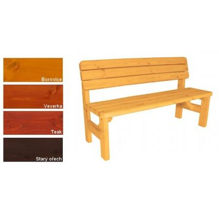 Zahradní lavice s opěradlem, z masivního dřeva, lakovaná- 4 odstíny, 150 cm
