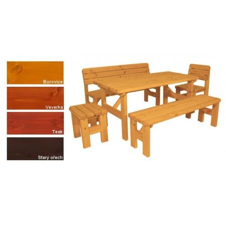 Masivní souprava jídelního nábytku na zahradu, lakovaná- 4 odstíny