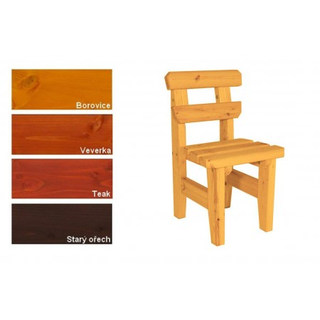 Pevná zahradní židle bez područek z masivního dřeva, lakovaná- 4 odstíny