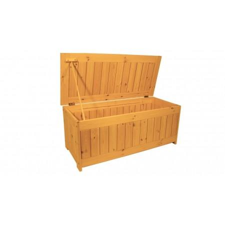Velký zahradní úložný box z masivního dřeva, lakovaný- 4 odstíny, 134x59 cm
