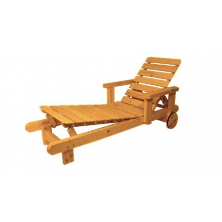 Pevné masivní zahradní lehátko dřevěné, polohovatelné, lakované- 4 odstíny