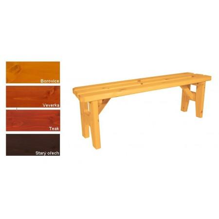 Pevná dřevěná venkovní lavice z masivu, bez opěradla, lakovaná- 4 odstíny, 150 cm