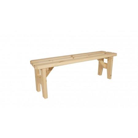 Pevná dřevěná venkovní lavice z masivu, bez opěradla, nelakovaná, 150 cm