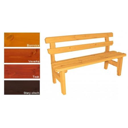 Pevná dřevěná venkovní lavice z masivu, s opěradlem, lakovaná- 4 odstíny, 150 cm