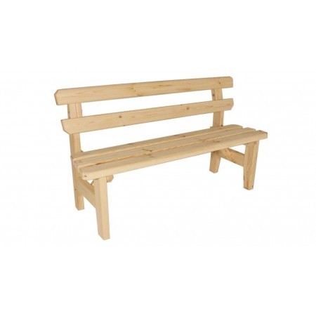 Pevná dřevěná venkovní lavice z masivu, s opěradlem, nelakovaná, 150 cm