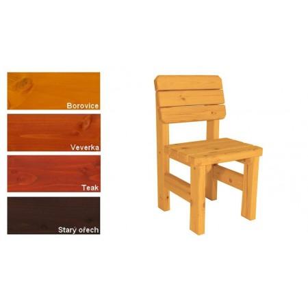 Pevná dřevěná venkovní židle z masivního dřeva, lakovaná- 4 odstíny