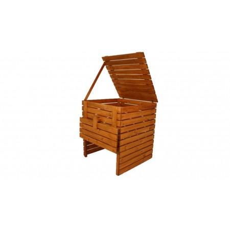 Bytelný pevný kompostér z masivního dřeva, povrchově upraveno, 1200 L