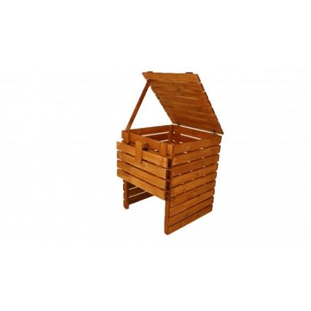 Bytelný pevný kompostér z masivního dřeva, povrchově upraveno, 400 L