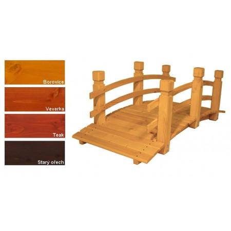 Zahradní most prohnutý, se zábradlím, masivní dřevo, lakovaný- 4 odstíny, 149 cm