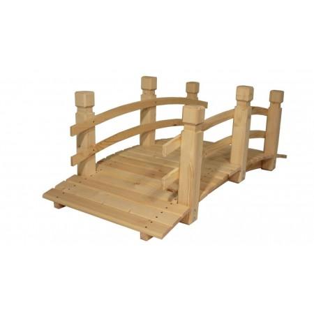 Zahradní most prohnutý, se zábradlím, masivní dřevo, nelakovaný, 149 cm