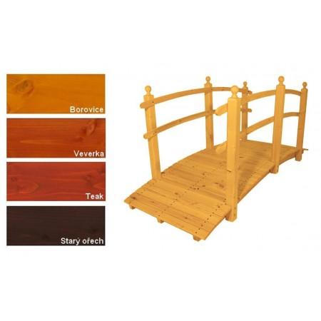 Delší zahradní dřevěný most s vysokým zábradlím, lakovaný- 4 odstíny, 248 cm
