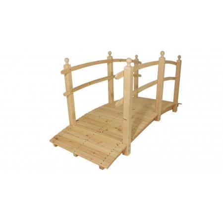 Delší zahradní dřevěný most s vysokým zábradlím, nelakovaný, 248 cm