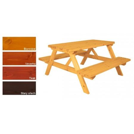 Masivní dřevěný piknikový set zahradního nábytku, lakovaný- 4 odstíny, 150 cm