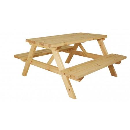 Masivní dřevěný piknikový set zahradního nábytku, nelakovaný, 150 cm