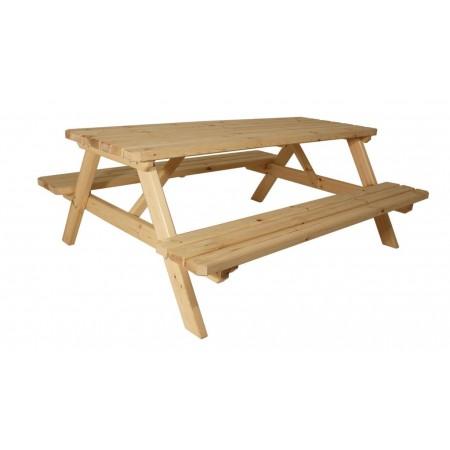 Masivní dřevěný piknikový set zahradního nábytku, nelakovaný, 200 cm