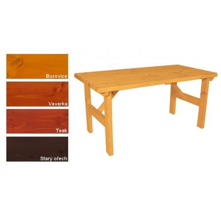 Dřevěný masivní stůl na terasu / zahradu, lakovaný- 4 odstíny, 160x81 cm